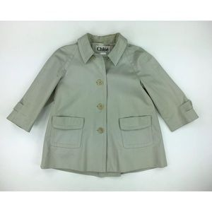 Chloe Womens 40 Beige Trench Coat Short Sleeve